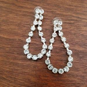 Jewelry - Rhinestone Drop Pierced Earrings